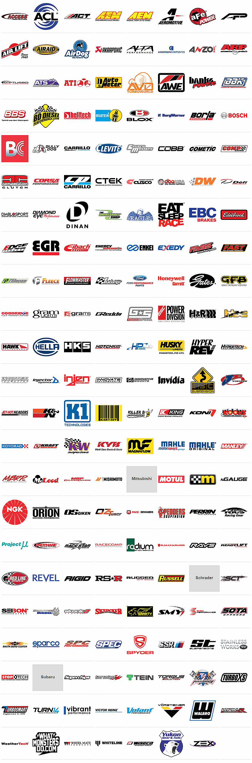 ACL, AEM, Aeromotive, aFe, Airaid, AirDog, ARP, ATS Diesel, AutoMeter, Banks Power, BD Diesel, Belltech, Bilstein, Borla, Bully Dog, Carrillo, Clutch Masters, Cometic Gasket, CORSA Performance, CP Pistons, CTEK, DBA, DeatschWerks, DiabloSport, Dynatech, Eagle, Edge, Eibach, Energy Suspension, FASS Fuel Systems, Fidanza, Fleece Performance, Flowmaster, Flowtech, Fluidampr, Ford Racing, Gates, Goodridge, H&R, Hawk Performance, Hella, Holley, Hooker, Hotchkis, Husky Liners, Hypertech, Industrial Injection, Injector Dynamics, Innovate Motorsports, JE Pistons, K&N Engineering, King Engine Bearings, KONI, Kooks Headers, KW, KYB, Magnaflow, Manley Performance, MBRP, McLeod Racing, Mishimoto, Motul, NGK, Range Technology, ReadyLift, Red Line, REV-X, Rigid Industries, Russell, SCT Performance, Sinister Diesel, Smarty, Snow Performance, SOTA, South Bend Clutch, SPARCO, SPC Performance, SPEC, Stainless works, Stoptech, Superchips, Technafit, TS Performance, Turbosmart, Vibrant, Volant, Walbro, WeatherTech, Wheel Mate, Whiteline, Yukon Gear & Axle